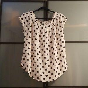 LC Lauren Conrad cap sleeve blouse, cream & black